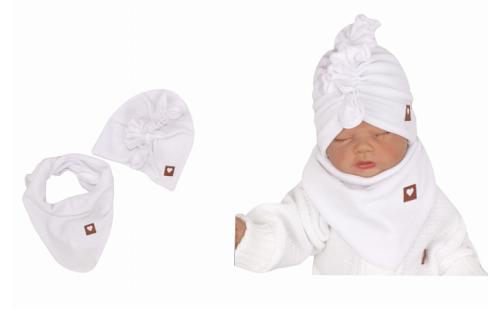 Z&Z Štýlová detská jarná / jesenná velurová čiapka, turban s šatkou, biela