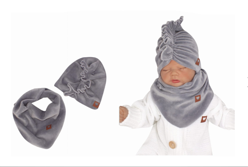 Z&Z Štýlová detská jarná / jesenná velurová čiapka, turban s šatkou, biela, 48/52cm