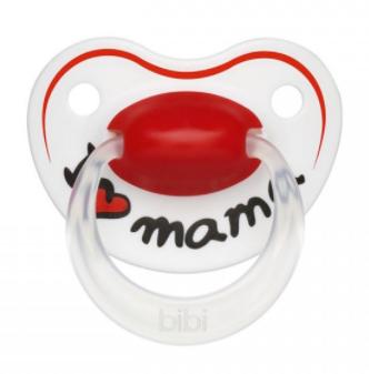 Silikónový ortodontický cumlík BIBI - I love Mama , srdiečko, 0-6 m