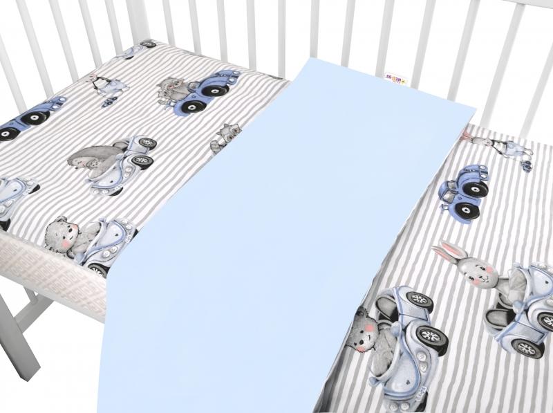 Baby Nellys 2-dielne bavlnené obliečky, Baby Car - modrá, 120x90 cm