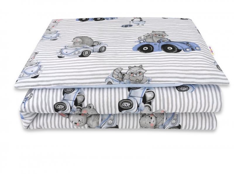 Baby Nellys 2-dielne bavlnené obliečky, Baby Car - modrá, 135 x 100 cm