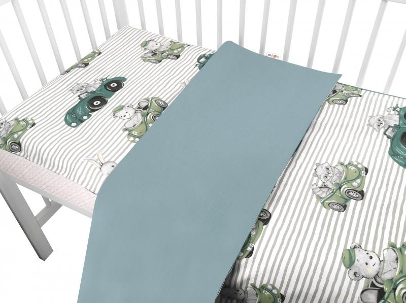 2-dielne bavlnené obliečky Baby Nellys, Baby Car - zelená