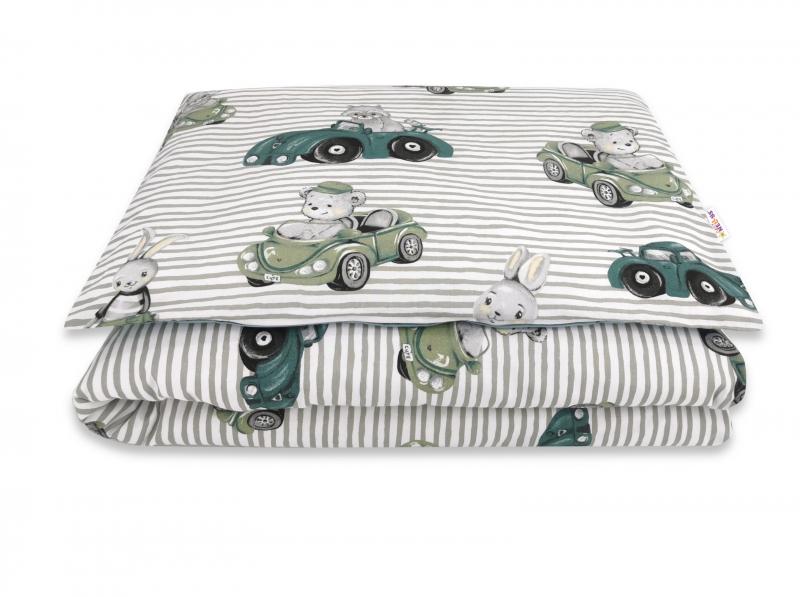 Baby Nellys 2-dielne bavlnené obliečky, Baby Car - zelená, 135 x 100 cm