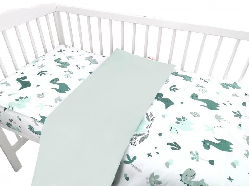 Baby Nellys 2-dielne bavlnené obliečky, Dino - zelená, 135 x 100