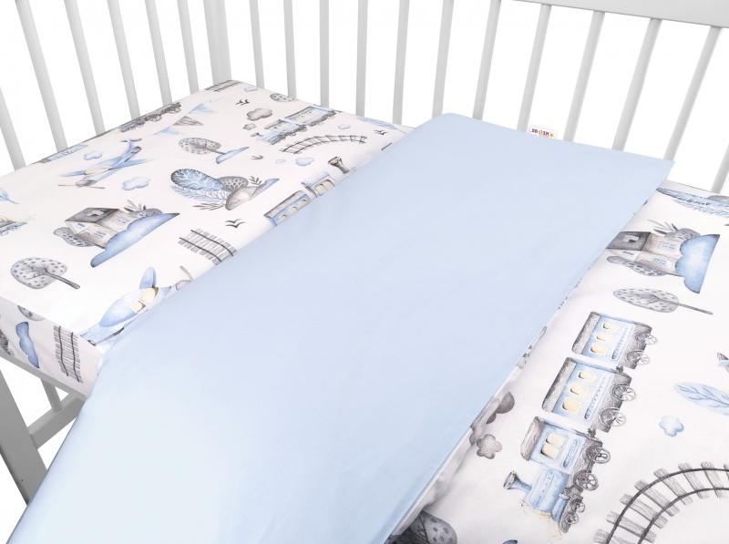 Baby Nellys 2-dielne bavlnené obliečky, Vláčik - modrý, 135x100 cm