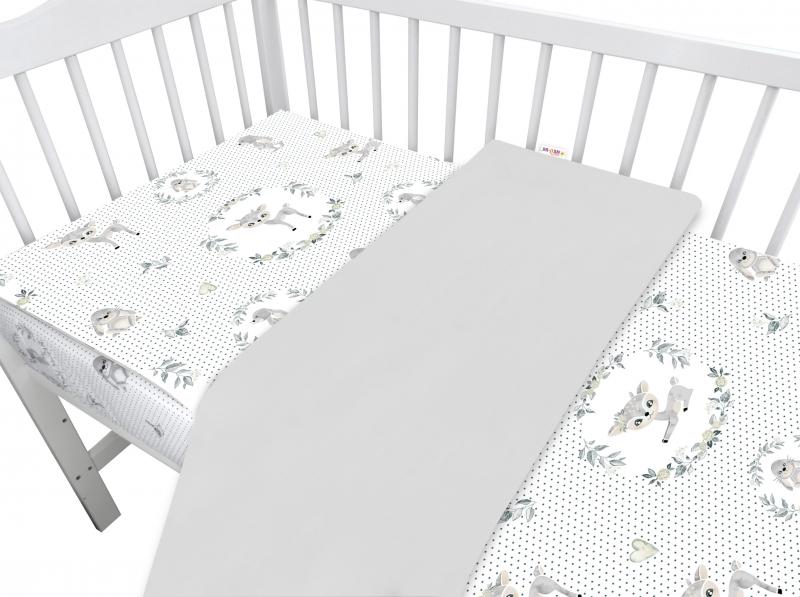 Baby Nellys 2-dielne bavlnené obliečky, Koloušek - sivý, 135x100 cm