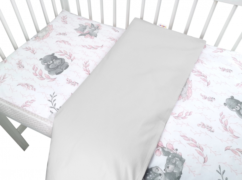 Baby Nellys 2-dielne bavlnené obliečky, LULU - ružová, sivá, 135x100 cm