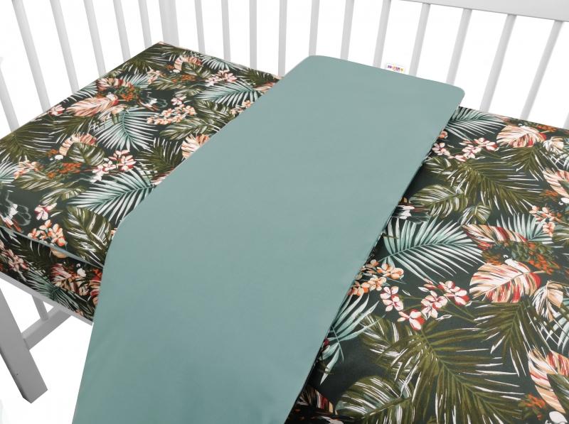 Baby Nellys 2-dielne bavlnené obliečky, Papagáj - zelená, 135x100 cm
