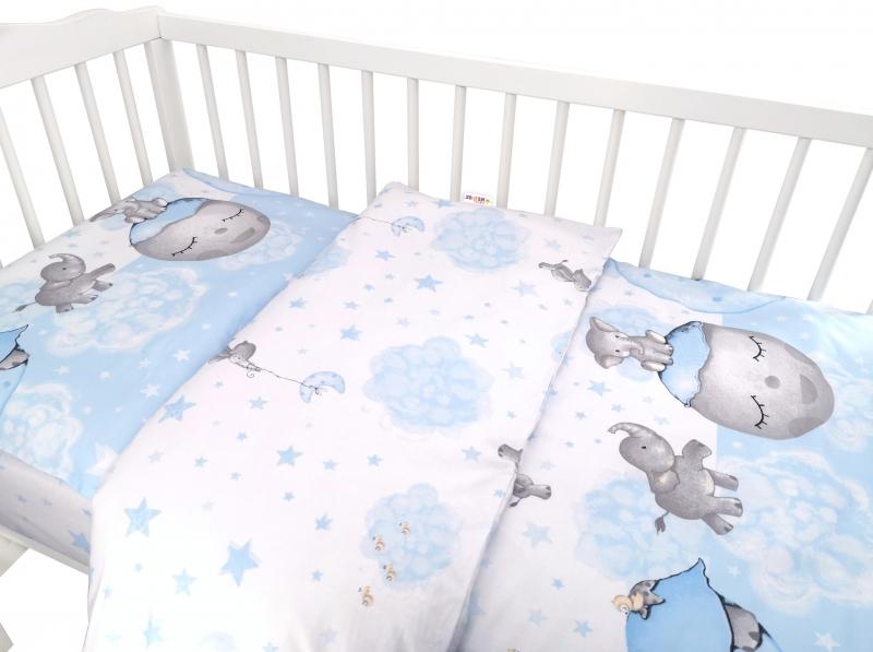 Baby Nellys 2-dielne bavlnené obliečky, Baby Elephant - modrý, 120x90 cm