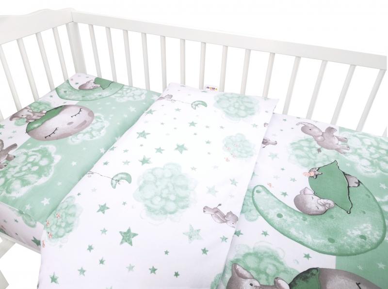 Baby Nellys 2-dielne bavlnené obliečky, Baby Elephant - mätová, 135x100 cm