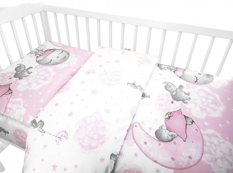 Baby Nellys 2-dielne bavlnené obliečky, Baby Elephant - ružová, 120x90 cm