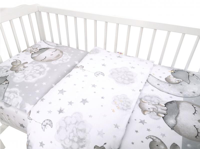 Baby Nellys 2-dielne bavlnené obliečky, Baby Elephant - sivá, 120x90 cm