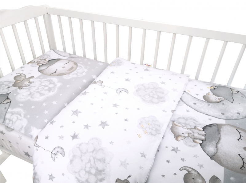 Baby Nellys 2-dielne bavlnené obliečky, Baby Elephant - sivá, 135x100 cm
