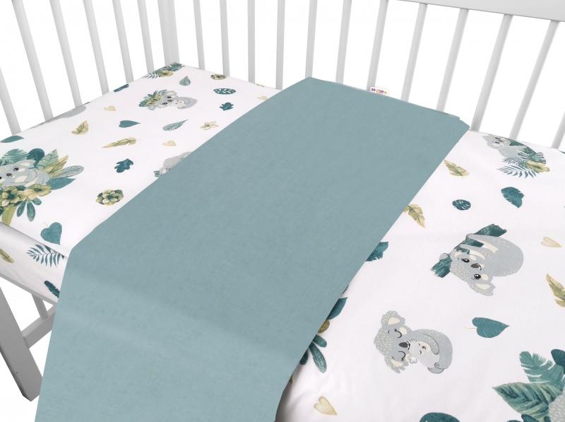 Baby Nellys 2-dielne bavlnené obliečky, Tropical Koala - zelená, biela, 120x90 cm