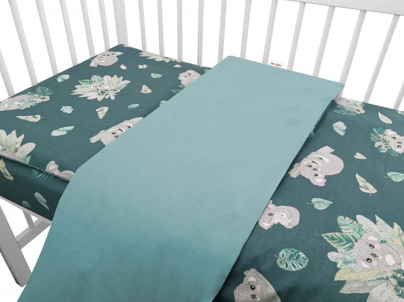 Baby Nellys 2-dielne bavlnené obliečky, Tropical Koala - zelená, 120x90 cm