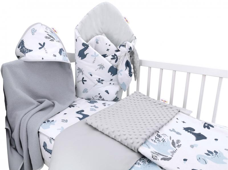 Baby Nellys 6-dielna výhodná súprava pre bábätko s darčekom,120 x 90cm - Dino, modrý, sivý