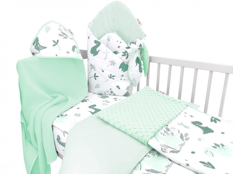 Baby Nellys 6-dielna výhodná súprava pre bábätko s darčekom,135 x 100cm - Dino, mätové