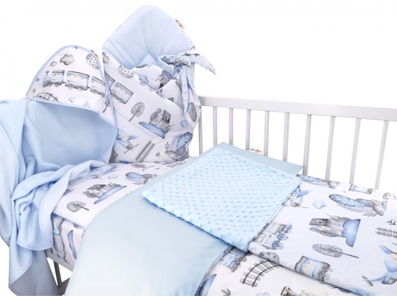 Baby Nellys 6-dielna výhodná súprava pre bábätko s darčekom,135 x 100 cm - Vláčik, modrý
