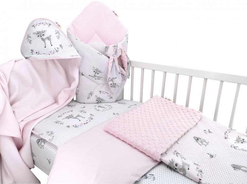 Baby Nellys 6-dielna výhodná súprava pre bábätko s darčekom,135 x 100cm - Koloušek ružový