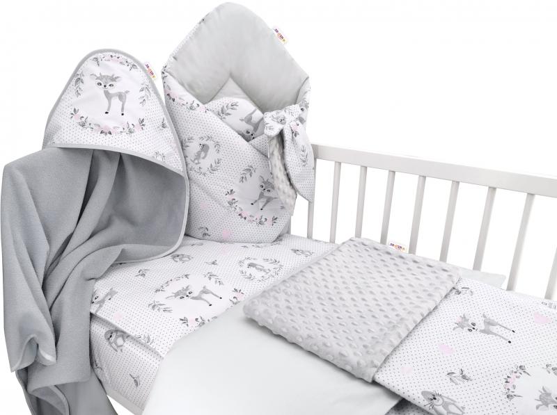 Baby Nellys 6-dielna výhod. súprava pre bábätko s darčekom,120 x 90, Koloušek ružový/sivý