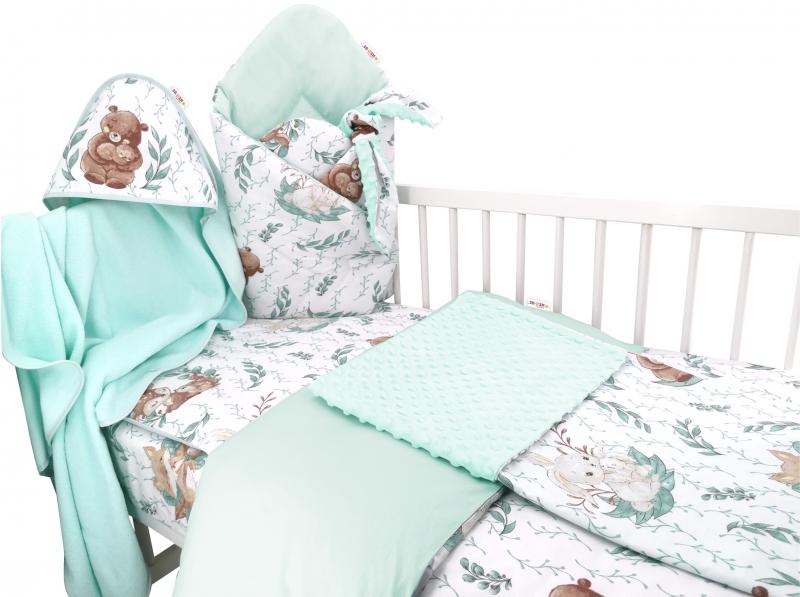 Baby Nellys 6-dielna výhod. súprava pre bábätko s darčekom,135x100, LULU natural - mätová-#Velikost povlečení;135x100