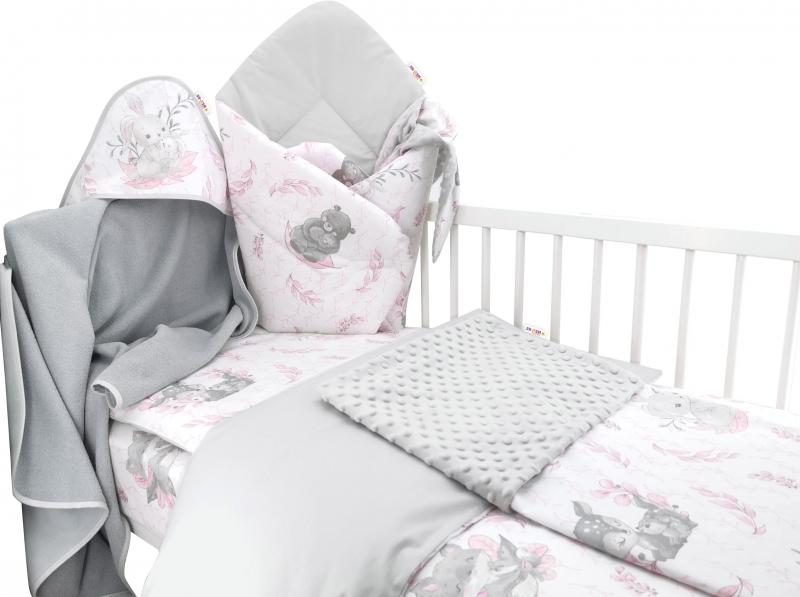 Baby Nellys 6-dielna výhod. súprava pre bábätko s darčekom,120 x 90, LULU, růžová,šedá