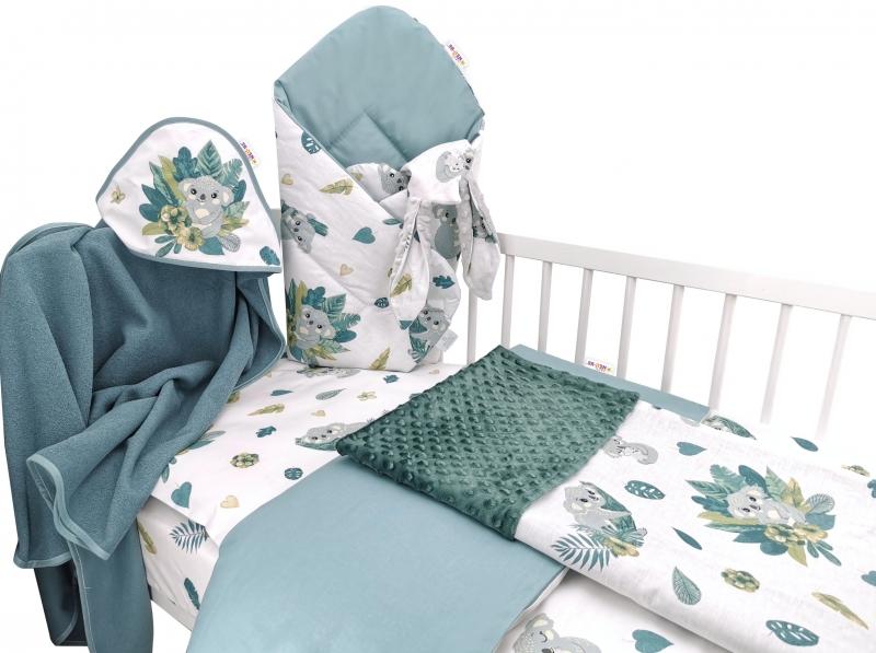 Baby Nellys 6-dielna výhod. súprava pre bábätko,120 x 90, Tropical Koala - zelená, biela