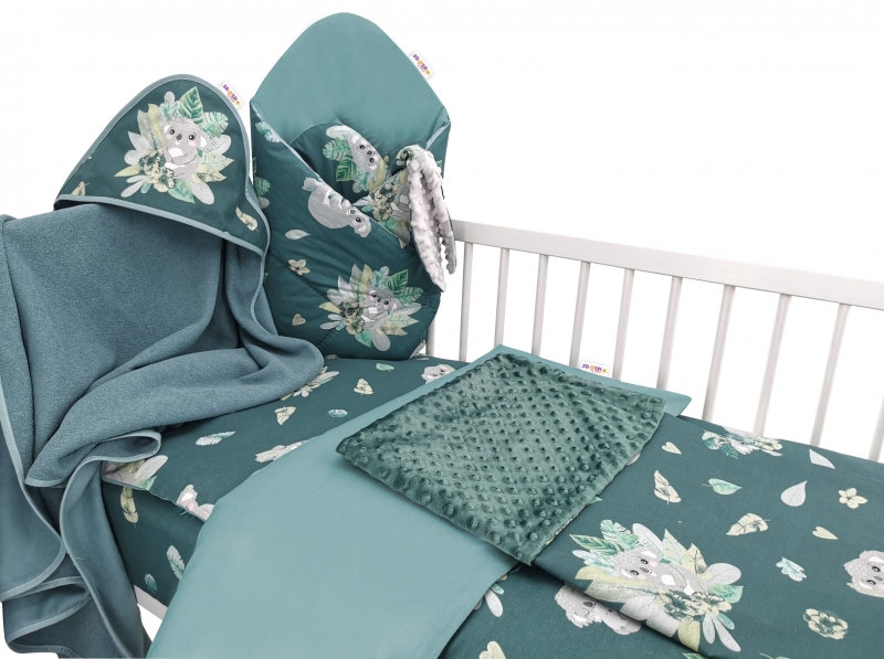 Baby Nellys 6-dielna výhod. súprava pre bábätko,120 x 90, Tropical Koala - zelená