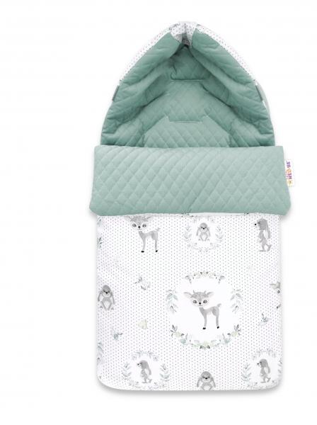 Baby Nellys Bavlnený fusak, prešívaný velvet, 45 x 95 cm - Koloušek, mätová