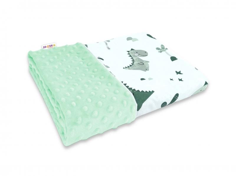 Baby Nellys Bavlnená deka s Minky 100x75cm, Dino - mätová