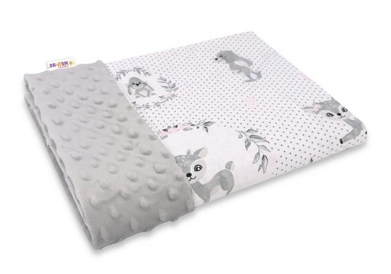 Baby Nellys Bavlnená deka s Minky 100x75cm, Koloušek, šedá, ružová