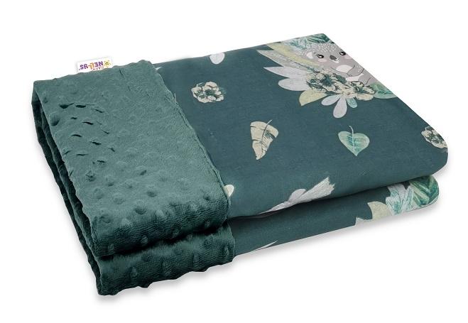Baby Nellys Bavlnená deka s Minky 100x75cm, Tropical Koala - zelená