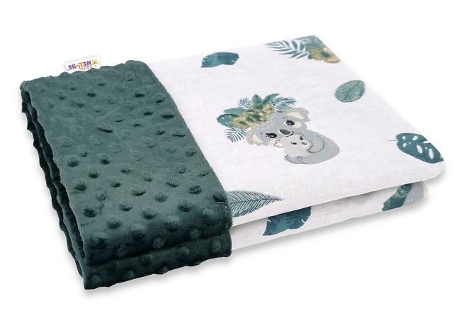 Baby Nellys Bavlnená deka s Minky 100x75cm, Tropical Koala - zelená, biela