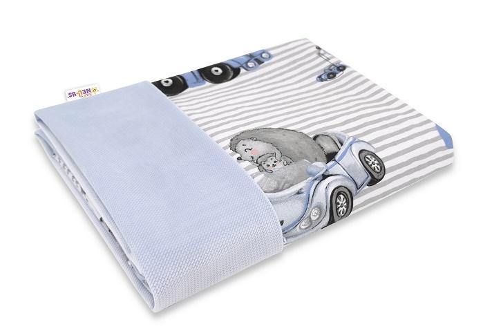 Baby Nellys Obojstranná deka Bavlna + Velvet 100x75cm, Baby Car - modrá