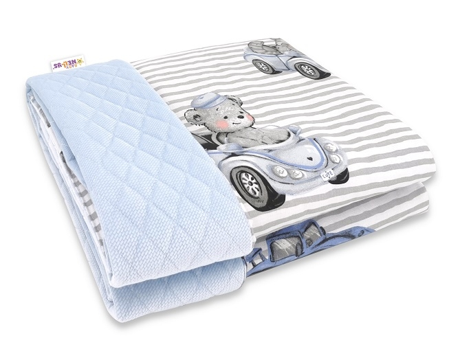 Baby Nellys Obojstranná prešívaná deka Bavlna + Velvet 100x75cm, Baby Car - modrá