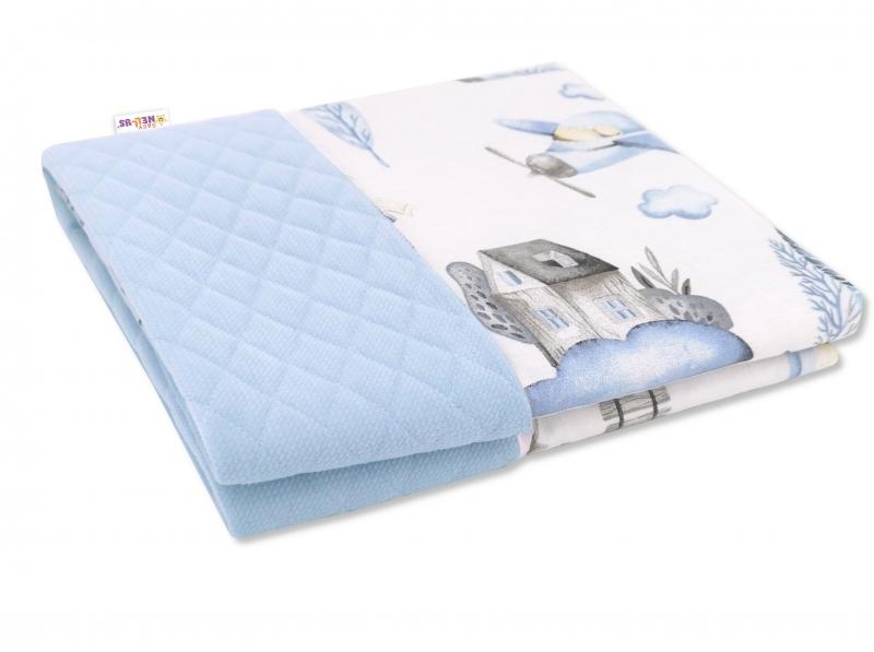 Baby Nellys Obojstranná prešívaná deka Bavlna + Velvet 100x70cm, Vláčik, modrá