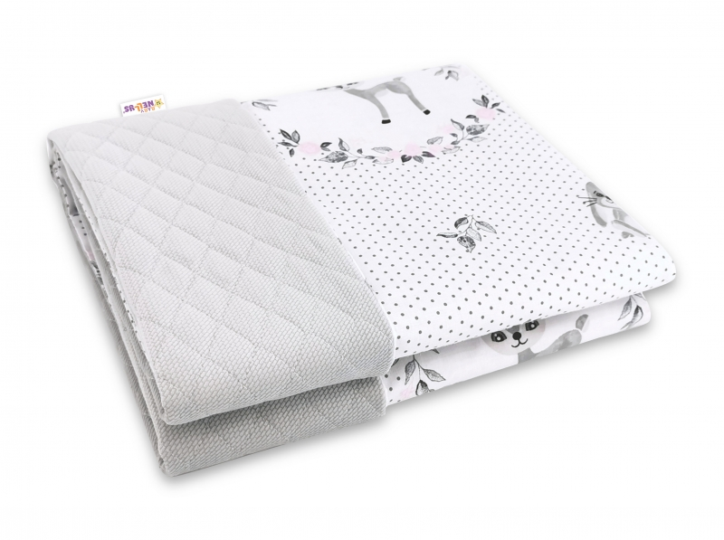 Baby Nellys Obojstranná prešívaná deka Bavlna + Velvet 100x70cm, Koloušek - ružová, šedá