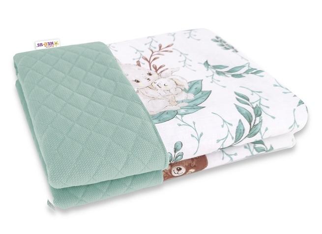 Baby Nellys Obojstranná prešívaná deka Bavlna + Velvet 100x70cm, LULU natural - zelená