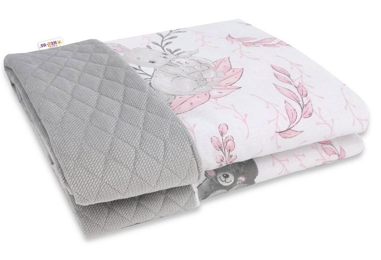 Baby Nellys Obojstranná prešívaná deka Bavlna + Velvet 100x70cm, LULU natural, šedo-ružová