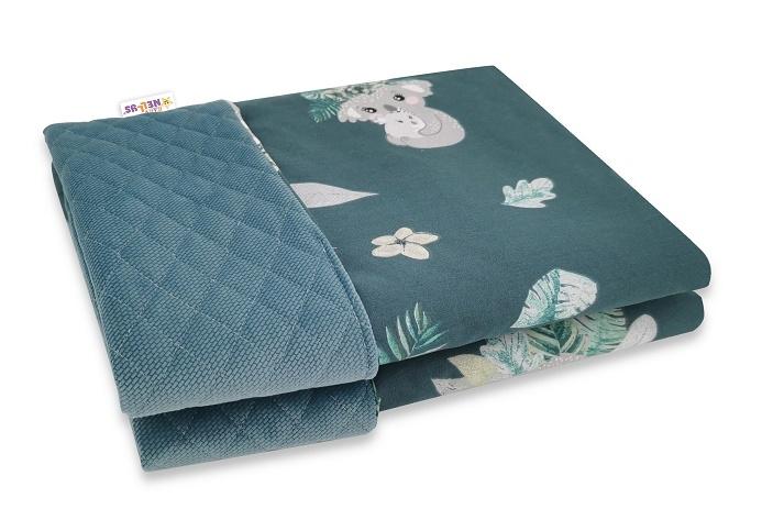 Baby Nellys Obojstranná prešívaná deka Bavlna + Velvet 100x70cm, Tropical Koala - zelená
