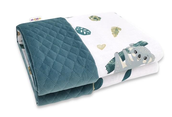 Baby Nellys Obojstranná preš. deka Bavlna + Velvet 100x70cm, Tropical Koala - zelená,biela