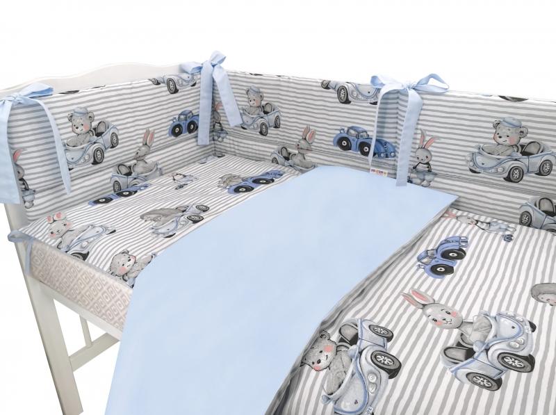 BABY NELLYS 3-dielna sada mantinel s obliečkami, Baby Car - modrá, 135x100 cm