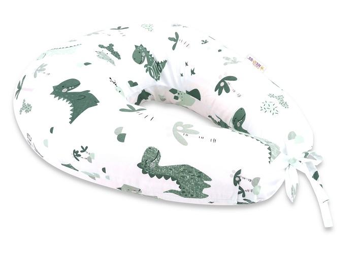 Baby Nellys Bavlnený dojčiaci vankúš - Dino, zelená, biela