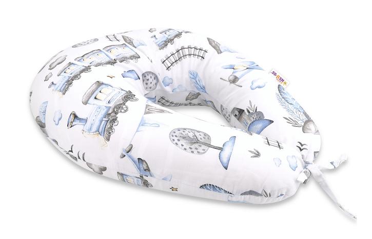 Baby Nellys Bavlnený dojčiaci vankúš - Vláčik, modrá