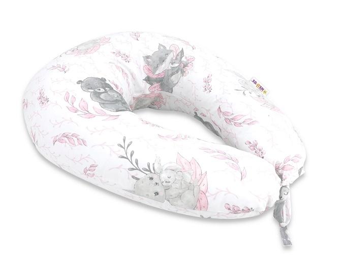 Baby Nellys Bavlnený dojčiace vankúš, LULU natural, růžová