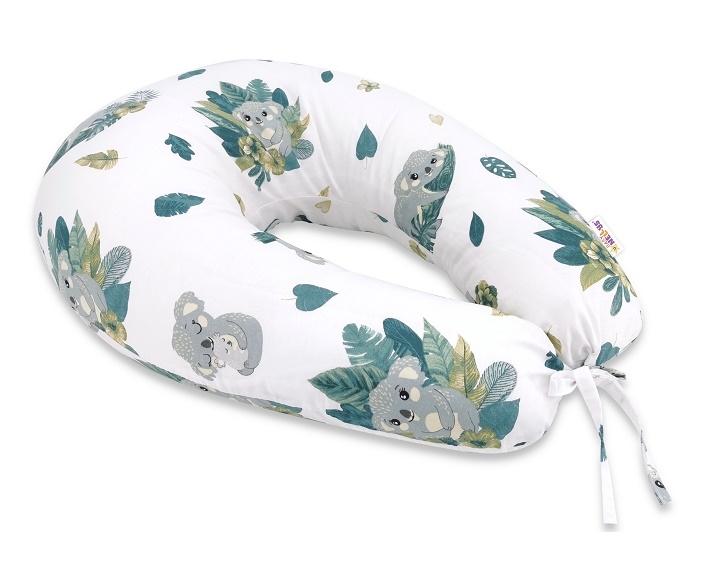 Baby Nellys Bavlnený dojčiaci vankúš, Tropical Koala, zelená, biela