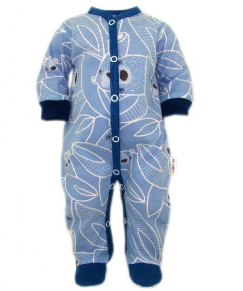 Baby Nellys Overal Medvedík, zapínanie uprostred, modrá