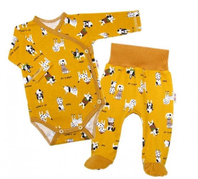 Baby Nellys 2-dielna sada, body dl.rukáv zap. bokom + polodupačky Psík, horčicová-#Velikost koj. oblečení;50 (0-1m)