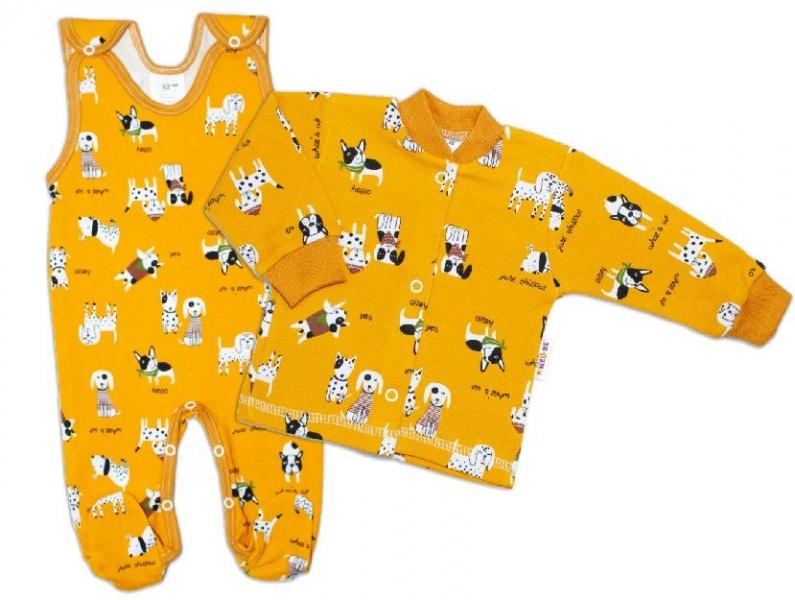Baby Nellys 2 - dielna sada, bavlnené dupačky s košieľkou Pejsek, horčicová, veľ. 56-#Velikost koj. oblečení;56 (1-2m)