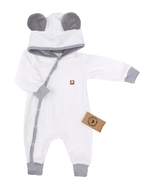 Velúrový dojčenský overal s kapucňou a uškami - bielo, šedý, veľ. 68